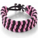 Survival Adjustable Bracelet, One-Size-Fits-All, Pink/Black